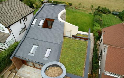 A new build property in Hertfordshire with Sarnafil green roof.