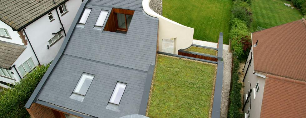 A new build property in Hertfordshire with part green roof.