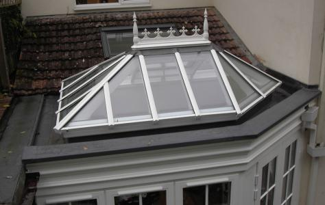 Orangerie with new Sarnafil roof and lantern rooflight