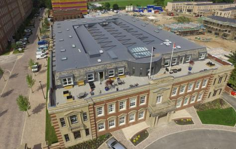 Sarnafil single ply membrane flat roof installed on historic Terry's chocolate factory