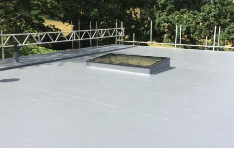 Sarnafil flat roof and rooflight installed on self build project