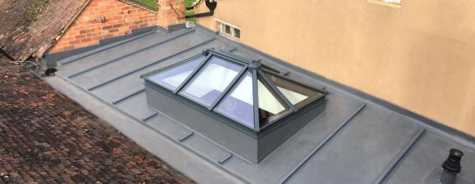 A new flat roof installation with lantern rooflight on heritage home